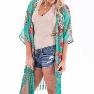 Other - Pretty Aqua Floral Fringed Short Kimono Coverup